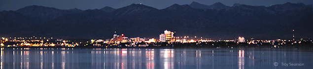 Anchorage panoramic at night, copyright Troy Swanson