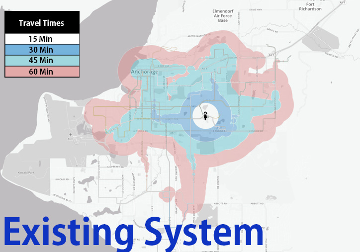Anchorage talks transit travel times travel time from u med in existing system gumiabroncs Choice Image