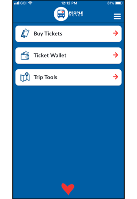 Mobile Ticket App Home